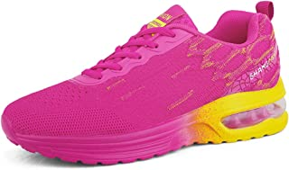 AUCDK Women Lightweight Trainers Breathable Knit Fabrics Upper Non Slip Sneakers with Shock Absorbing Air Cushion for Jogging