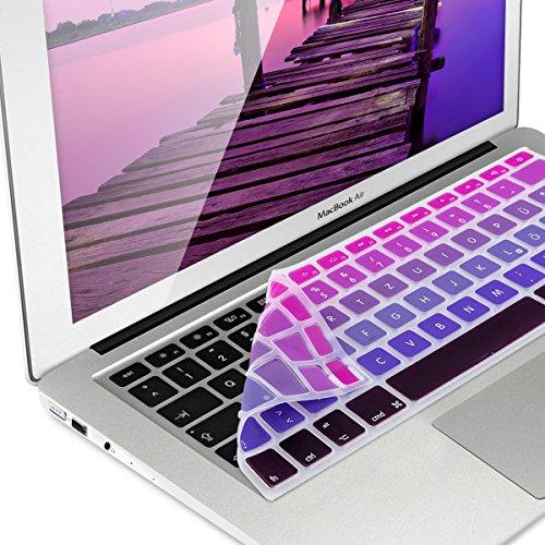 Preisvergleich Produktbild kwmobile Tastaturschutz für Apple MacBook Air 13'' / Pro Retina 13'' / 15'' (bis Mitte 2016) - QWERTZ Silikon Laptop Abdeckung Pink Violett
