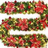 MIFASA Guirnalda de ratán Verde, Guirnalda de Navidad de 2,7 m con Luces LED, Guirnalda con Pilas, Adornos para árboles de Navidad