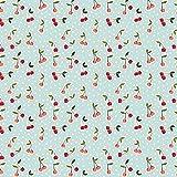 Hans-Textil-Shop Stoff Meterware Kirschen Punkte Baumwolle