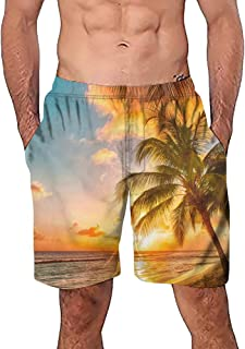 Casual 3D Tree Printed Boardshorts Quick Dry Shorts Summer Trouser with Pockets