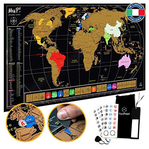 TooPopz Mappa del Mondo da Grattare Mup! - Design Italiano, Grande Poster Planisfero da Parete, Idee Regalo Originali per Viaggiatori, Cartina Geograf