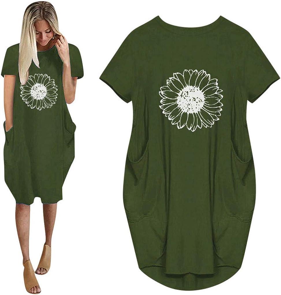 Toeava Plus Size Dresses for Women Oversize Short Sleeve Tunic Dresses Baggy Heart Curve T-Shirt Dress with Pockets