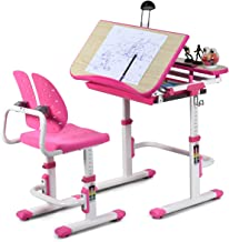 Baby Joy Kids Desk and Chair Set, Height Adjustable, Children Study Table with Tilted Desktop, Pull Out Spacious Storage D...