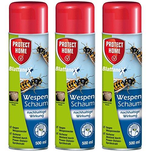 SBM Protect Home GARDOPIA Sparpaket: 3 x 500ml Blattanex Wespenschaum Wespenspray mit spezieller Powerdüse + Gardopia Zeckenzange mit Lupe