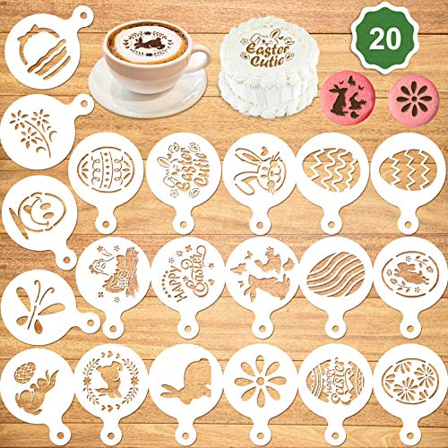 Konsait 20Pack Easter Cake Stencil Templates Decoration, Reusable Easter Eggs Rabbit Cake Cookies Baking Painting Mold Tools, Dessert, Coffee Decorating Molds Cappuccino Mousse Hot Chocolate