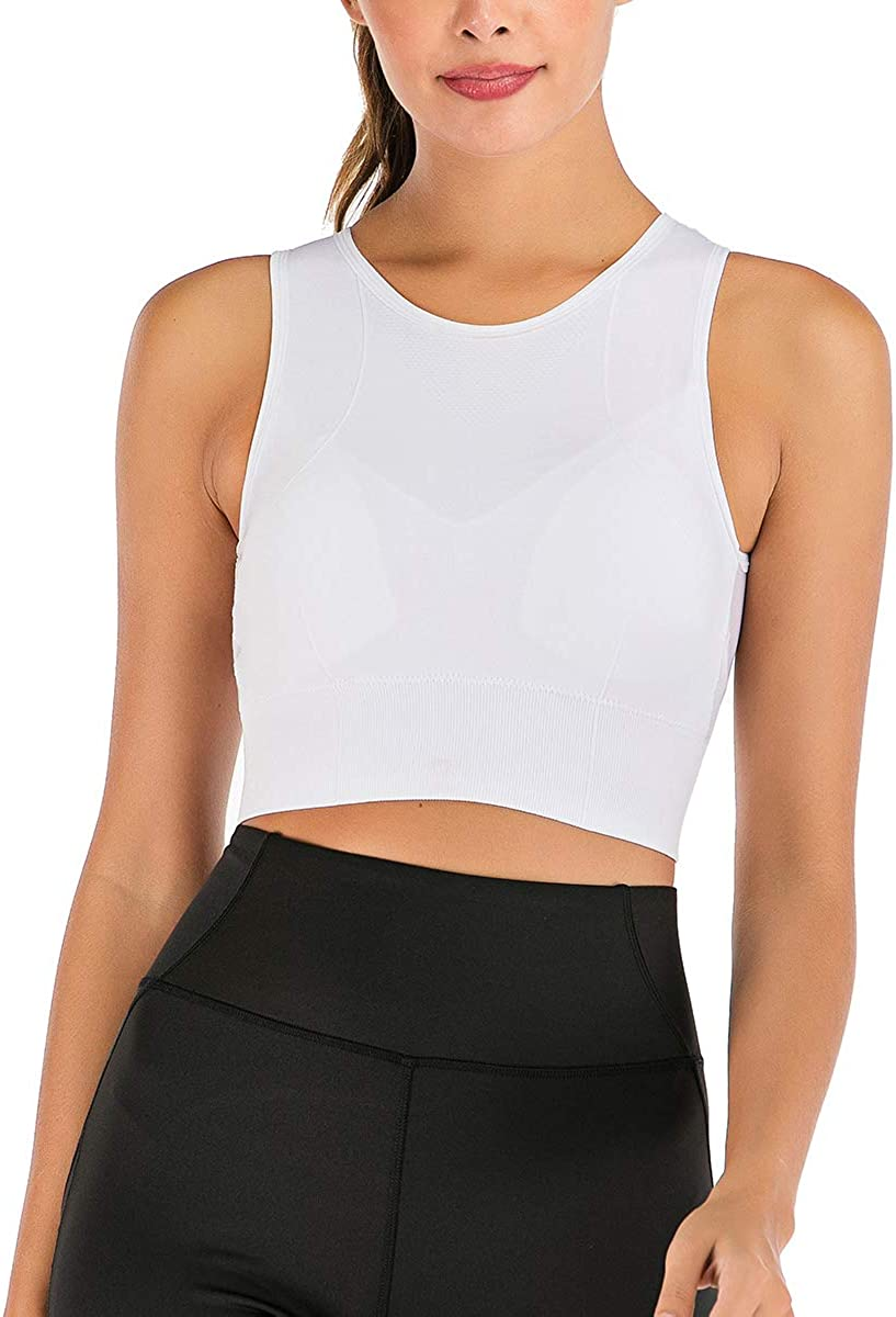 FLORATA Sports Bra for Women Medium Impact Padded Yoga Workout Bra Running Gym Activewear