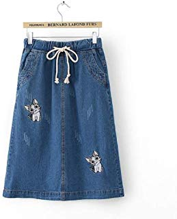 Meou & Moi Cat Embroidered Denim Mid-Calf Relaxed Fit Skirt