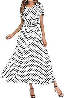 zhxinashu Women Short Sleeve Maxi Dress - Ladies Full Length Summer Beach Clothing