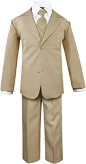 Luca Gabriel Toddler Boys' 5 Piece Classic Fit No Tail Formal Khaki Dress Suit Set with Tie and Vest