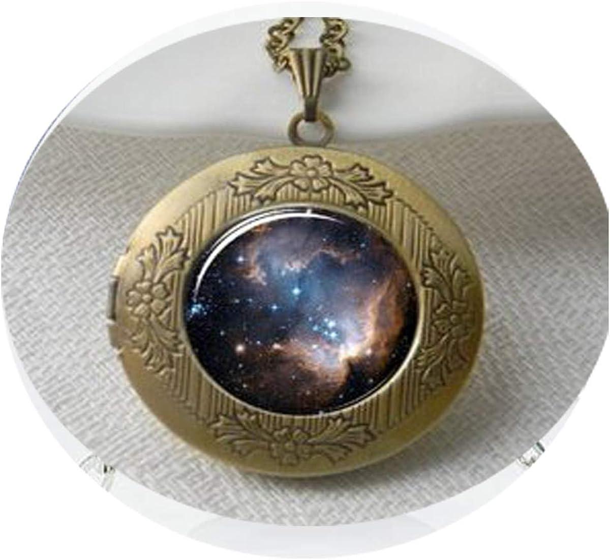 Galaxy Necklace Locket , Heavenly Nebula Pendant Locket , Stars and Universe Jewelry Locket