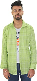 Matelco Men's Regular Fit Cotton Shirt with Inner Attach (A-14-Ad07Ma901Gr_Green)