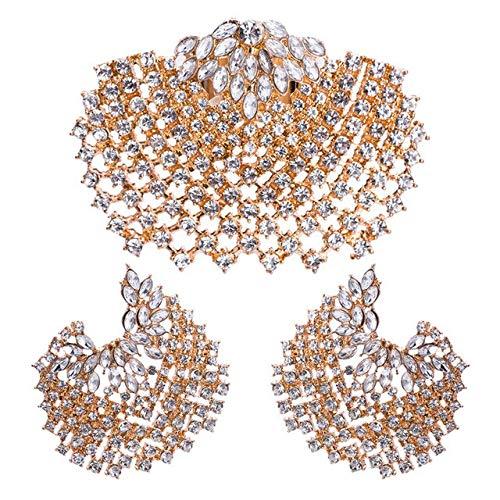 LON Shell Earring Ring Set for Women Statement Jewelry Set Gifts Bohemian Full Rhinestone Gold Silver