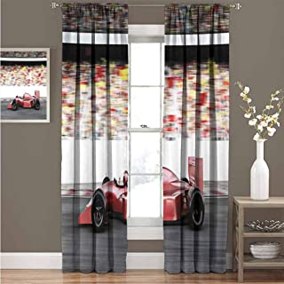 GUUVOR Cars Wear-Resistant Color Curtain Motor Sports Red Race Car Side View on a Track Leading The Pack with Motion Blur Waterproof Fabric Curtain 52