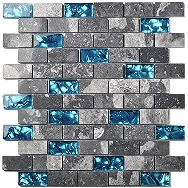 Ocean Teal Blue Glass Nature Stone Tile Kitchen Backsplash 3D Bath Shower Accent Wall Decor Gray Wave Marble 1 x 2 Subway Art Mosaics TSTNB03 (11 PCS [11.8'' X 11.8''/each])