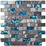 Ocean Teal Blue Glass Nature Stone Tile Kitchen Backsplash 3D Bath Shower Accent Wall Decor Gray Wave Marble 1 x 2 Subway Art Mosaics TSTNB03 (10 PCS [11.8'' X 11.8''/Each])