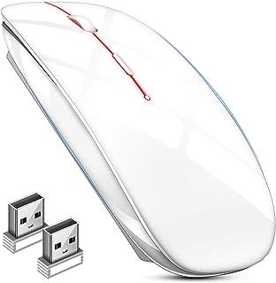 マウス BLENCK ワイヤレスマウス 充電式 小型 静音 省エネルギー 2.4GHz 3DPIモード 光学式 高感度 Mac/Windows/surface/Microsoft Proに対応 TELEC認証取得済み (ホワイト)