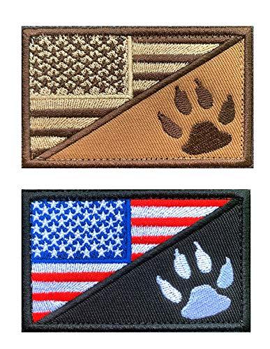 2 Stück Taktische amerikanische Flagge mit H&e-Tracker, USA-Flagge/H&epfoten-Aufnäher, Milltary bestickte Applikation, Emblem mit Haken & Schlaufe für Diensth&e