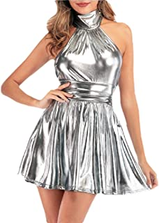 Womens Cocktail Club Dress Halter Backless Metallic Mini Swing A Line Dres