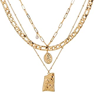 annafoya Stylish Vintage Coin Medallion Round Pearl Abalone Shell Tassel Gold-Layered Long Flat Cuban Chain Charm Pendant ...