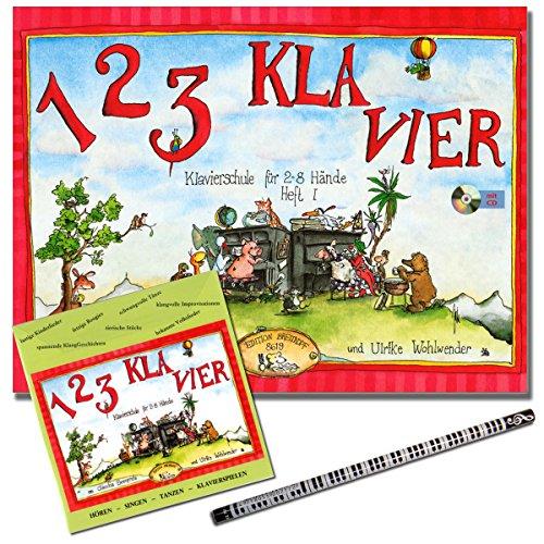 1 2 3 KLAVIER schrift 1 - Piano school met CD van Claudia Ehrenpreis/Ulrike Welwender - Piano Lessen in de groep - met piano potlood