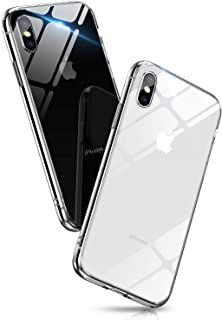 Aunote iPhone X Clear Case, Ultra Hybrid Clear iPhone Xs Case Cover, Anti-Scratch TPU Bumper Case Glass for iPhone Xs Protective Case, Compatible for iPhone 5.8 inch 2018 Transparent