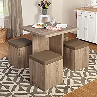 5-piece Upholstered Baxter Dining Set with Storage Ottomans