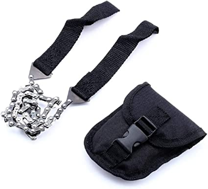 Black Emergency Survival Chain Saw Survival Hiking Portable Pocket Hand ChainSaw