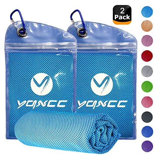 YQXCC Kühl-Handtuch (120 x 30 cm), Eis-Handtuch, Mikrofaser-Handtuch für sofortige Kühlung, kühles Handtuch für Yoga, Strand, Golf, Reisen, Fitnessstudio, Sport, Schwimmen, Camping, ., Blau+Blau