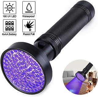 Aptech UV Black Light Flashlight,Super Bright 100 LED UV Torch Portable Blacklight Ultraviolet Detector for pet Urine, Hom...