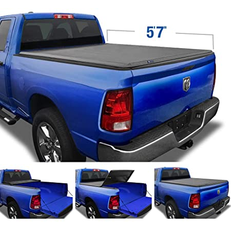 """Tyger Auto T3 Soft Tri-Fold Truck Bed Tonneau Cover Compatible with 2009-2018 Dodge Ram 1500   2019-2021 Classic Only   Fleetside 5'7"""" Bed (67"""")   without RamBox   TG-BC3D1015"""