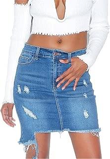 Mini Skirt for Women Girls Denim Skirt Ripped Jeans Package Hips Skirt, 4 Pocket