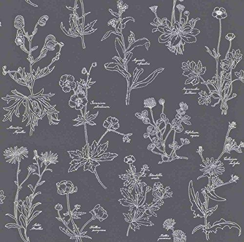 Tapete Garten-Blumen, Blumen-Kunde, Heilkräuter-Kunde, Kräuter-Kunde, schwarz-weiß, 53cm x 10,05m, Vliestapete, Rapportversatz: 26,50cm