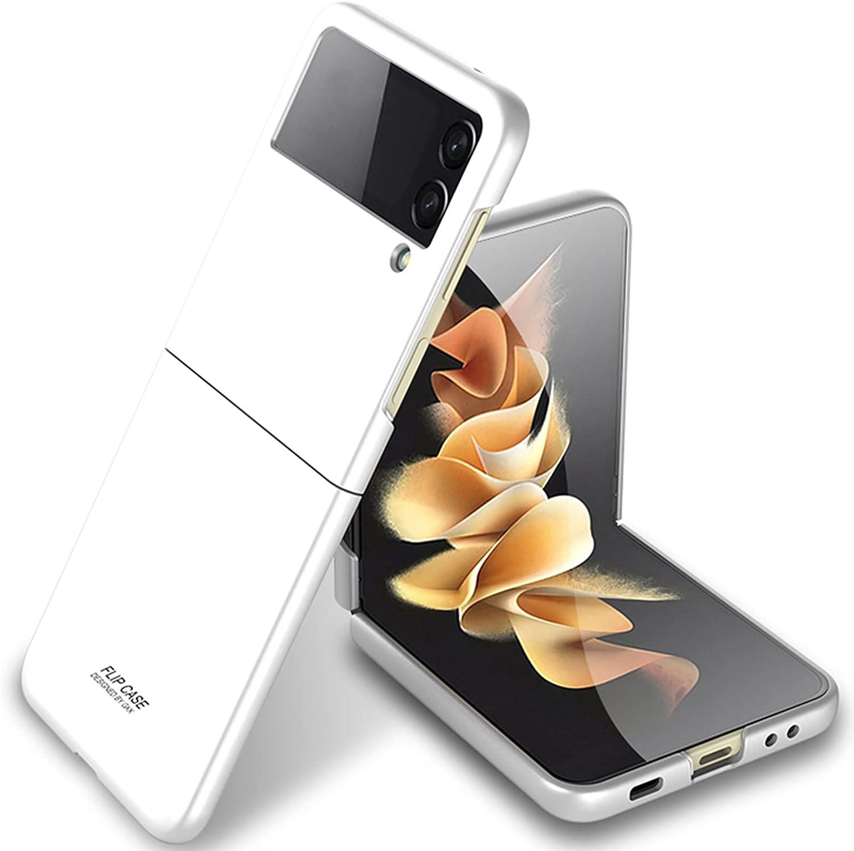 Miimall Compatible with Samsung Galaxy Z Flip 3 2021 Case Cover, Galaxy Z Flip 3 Case Ultra-Thin Matte Finish Anti-Fingerprint Anti-Oil Bumper Case for Samsung Galaxy Z Flip 3 Flip 3 5G 2021(White)