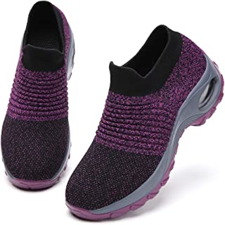 Ezkrwxn Walking Shoes for Women mesh Breathable Comfort Sock Fashion Sport Athletic Running Shoes Ladies Runner Jogging Sneakers Casual Tennis Trainers Purple Size 8.5