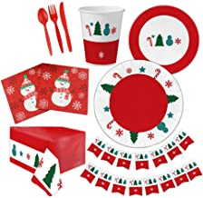 Licogel 114PCS Christmas Party Tableware Patterned Paper Disposable Cute Decorative Party Dinnerware Fashionable Tree