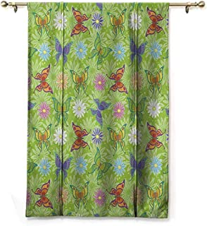 S Brave Sky Waterproof Roman Blinds,Floral,Flowers and Butterflies with Buds Daisies Abstract Detail with Lime Green Background,Multicolor