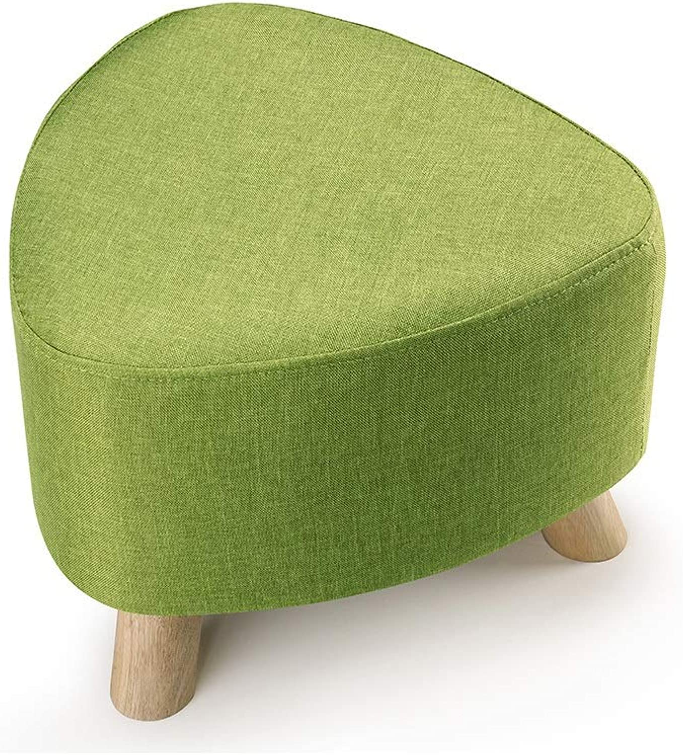 Footstool Upholstered Triangle Stool Chair Solid Wood Three-Legged Support Removable Grass Green Linen Cover Sofa Bench (color   Green)