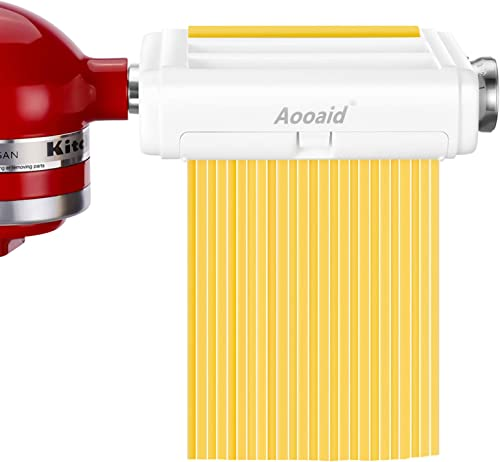 Pasta Maker Attachment for KitchenAid Stand Mixers,3-in-1 Including Fettuccine and Spaghetti Cutter,Pasta Sheet Rolle...