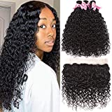 Brazilian Human Hair Water Wave 3 Bundles With Lace Frontal (24 26 28+20) Unprocessed Virgin Brazilian Wet And Wavy Hair Extensions 9A Grade Virgin Human Hair Bundles Natural Color