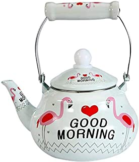 teapot for stovetop Enamel, Kettle teel with Enamel Finish Perfect Addition to Any Kitchen, Cute Teapot, Kitchen Accessories, Animal Retro Kettle for Gas Top or Electric Stoves Flamingo 1.5 Liter