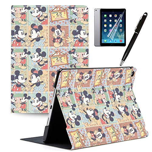 iPad 9.7 inch Case 2018 iPad 6th Generation Case 2017 iPad 5th Generation Mickey and Minnie Cartoon Case PU Leather Stand Protection Smart Auto Sleep/Wake Cover for Pad Air 2 / iPad Air 1#Q