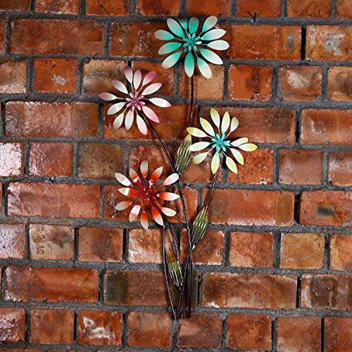 Europese wandhanger, ijzer, driedimensionaal, bloemenboom, wanddecoratie, metaal, bloem, kunst, zachte hanger, eenvoudig te installeren op pc. 40x5x76cm Rojo