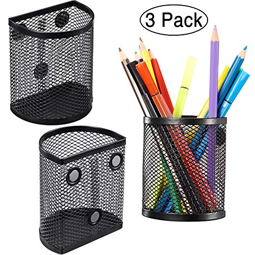 Zonon Magnetic Pencil Holder Set of 3, Mesh Storage Baskets with Magnets to Hold Whiteboard, Locker Accessories, Black (3)