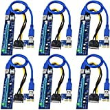 linkstek pcie risers for eth/btc gpu miner rigs, pcie riser cable for bitcoin, ethereum mining, gpu riser adapter, gpu riser cable, pci express riser ver006c(6pack)
