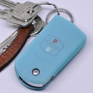 Soft Case Schutz Hülle Auto Schlüssel für Mazda CX 7 CX 5 2 4 5 6 RX 8 Klappschlüssel/Farbe: Fluoreszierend Blau (leuchtet im Dunkeln!)
