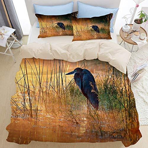 788 Bedding duvet cover,bird africa wetland reed tranquil misty water morning kruger light wilderness animal,microfiber quilt cover(230x220cm),Pillowcase 50x80cm