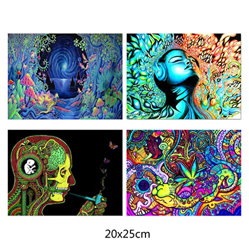 Rtengtunn 4 póster sin Marco, Psychedelic Trippy Mind Visual Mushroom Art (Set of 4 Unframed - 13X20 Inches) - B