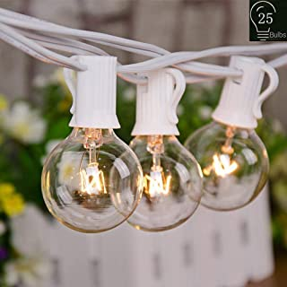 VIITION 25Ft Outdoor String Lights with 25 Clear Globe G40 Bulbs UL Listed, String Lights for Patio Porch Backyard Deck Bistro Balcony Wedding Gathering Parties Decor-White Wire