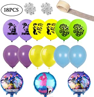 Video Game Ballons - Birthday Party Supplies, Includes 3 Foil and 12 Latex Ballons(12
